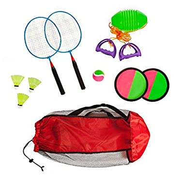 Combo outdoor play set of 3 Hook and Loop catch Speed ball & Badminton in mesh carryon bag