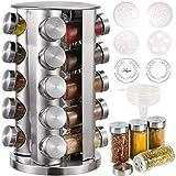 CAM2 Gewürzregal Mit 20 Gewürzgläsern (ohne Inhalt),Gewürzkarussell Bei 5 Sprache Zettel,430-Edelstahl-Rotationsküchen-Gewürzständer, Mit Vielzahl von Ersatzgewürzflaschenverschlüssen
