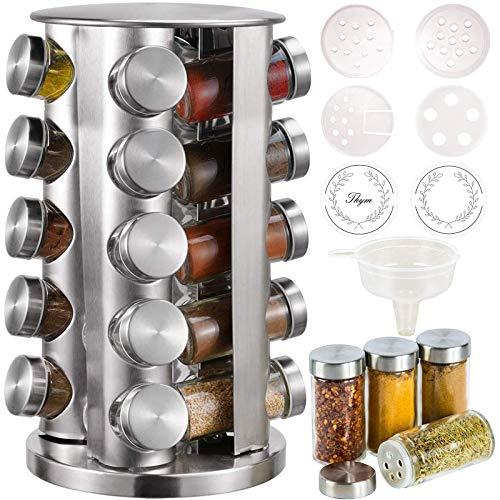 CAM2 Gewürzregal mit 20Gewürzgläsern (ohne Würze),360° Drehbares Gewürzkarussell Bei 4 Sprache Zettel,430-Edelstahl-Rotationsküchen-Gewürzständer,Mit Vielzahl von Ersatzgewürzflaschenverschlüssen