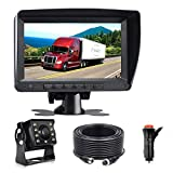 Wired AHD Backup Camera Monitor Kit for Truck/Semi-Trailer/Box Truck/RV/Camper/Bus/Van/Farm Mach/Motorhome/5th Wheel, HD 7Inch Digital TFT Monitor + 960P Mini Camera, Powered by Cigarette Lighter