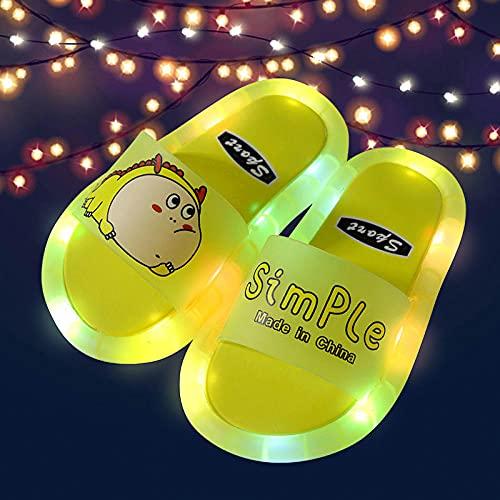 Zapatillas de casa de Mujer Invierno,Zapatillas Luminosas LED, Dibujos Animados de Verano Soles de PVC para niños con Luces Sandalias Antideslizantes para Interiores y al Aire Libre, Niñas para bebés