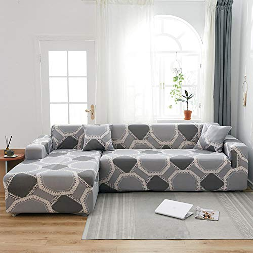 B/H Funda sofá Duplex,para la Cubierta del sofá de la Sala de Estar Toalla de sofá elástica en Forma de L Funda de sofá de esquina-22_235-300cm,Tejido elástica Cubiertas de sofá