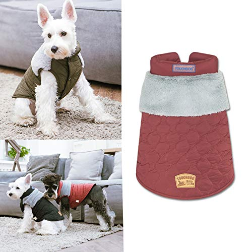 Rantow zweifarbiger Wintermantel für kleine Hunde, winddicht, kaltes Wetter, Loft-Jacke, langes Haar, Welpenweste, Fleece, Haustierbekleidung, Peacoat