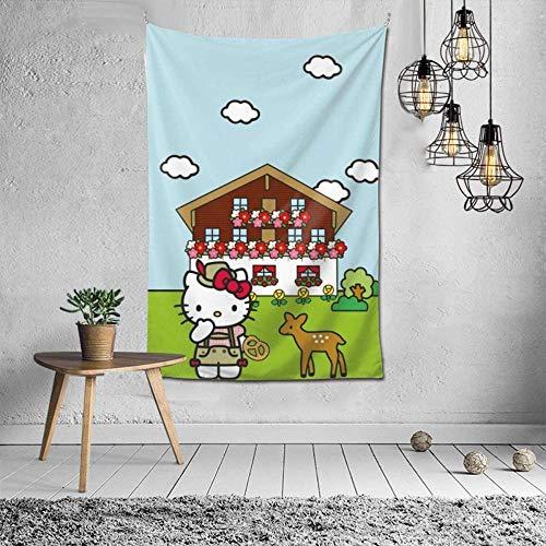Tapiz para colgar en la pared de Hello Kitty para colgar en la pared, dormitorio o dormitorio con estilo