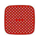 YUACY Almohadilla de freidora de aire cuadrada de silicona de grado alimenticio Freidora de aire resistente al calor Multipropósito Pad reutilizable Air Freyer Pad (rojo/7.5 pulgadas)