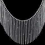 OIIKI 0.5 Yard Rhinestone Ribbon Tassel Chain, Diamond Crystal Tassel Fringe Trim for Wedding, Party, Clothing Accessories, Personalized DIY Decoration
