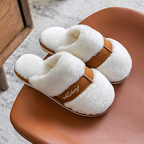 XZDNYDHGX Memory Foam Comfortable Flax Shoes,Women Winter Slippers Cartoon Shoes Non Slip Soft, House Slippers Indoor Bedroom Lovers Couples White UK 6.5-7