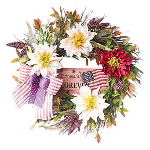 Hemoton 4 de Julio Guirnalda con Flor Verde Hoja Bowknot Decorativo Bandera Americana Corona Puerta Frontal Guirnalda para La Decoración del Partido Patriótico del Día de La Independencia