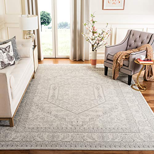 Safavieh Adirondack Collection ADR108B Oriental Medallion Non-Shedding Stain Resistant Living Room Bedroom Area Rug, 4' x 4' Square, Ivory / Silver