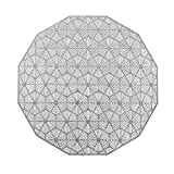 Wintop 15' Round Vinyl Metallic Placemats Hollow Out Design, Set of 6, Polygonal Functional Mat for Dining Table Durable Non-Slip,Dodecagonal Silver