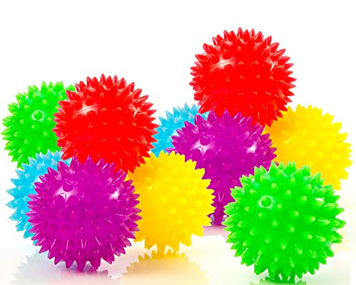 Impresa Products 10-Pack of Spiky Sensory Balls - Squeezy and Bouncy Fidget Toys/Sensory Toys - BPA/Phthalate/Latex-Free