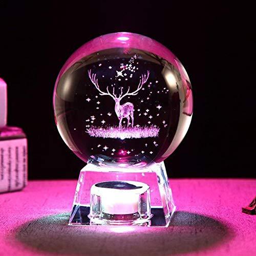 CHENSTAR Bola de cristal 3D con luz nocturna, bola de nieve, lámpara de escritorio para decoración del hogar, decoración festiva, luz de noche coleccionable para niños, Navidad, día de San Valentín