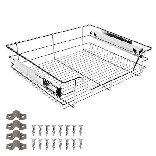 Hengda Teleskopschublade Küchenschublade 60 cm Schrankbreite inkl. Schienen für Küchenschrank aus Metall chlafzimmerschränke Korbauszug Vollauszug Schublade (Verchromt)