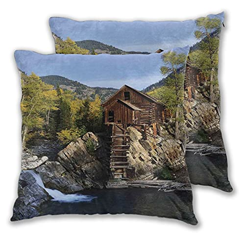 DYCBNESS Funda de Almohada Cuadrado Cabaña de Madera aislada en Woods River Cascada Forest Mill Mountain Pine Trees Funda Cojín Diseño de Cremallera Paquete de 2 para Sofá Cama Decoración 55x55cm