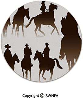 Quality Well Woven Barclay Round Area Rugs,Collection of Horseback Riding Silhouettes Bridle Ranch Stallion Equestrian Theme Decorative 3' Diameter Dark Brown,for Kids Room Bedroom Kitchen