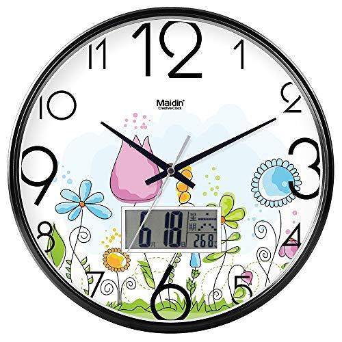 """GFF Haus Wanduhr Nicht Ticking Anzahl Wanduhr Quarz-Clock Fair von dekorativen """"Inside Schlafzimmer Uhr Uhr Uhr Mute Digital-Wanduhr Quarz-Taktgeber Art (Farbe: Weiß Kalender -604, Größe :. 13)"""