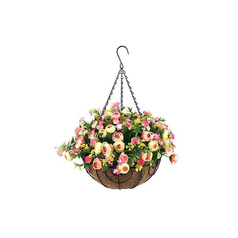 silk flower arrangements homsunny artificial hanging flowers with basket,fake silk rose flowers in 12 inch coconut lining hanging baskets for the decoration of courtyard, outdoors, and indoors (rose red,white)