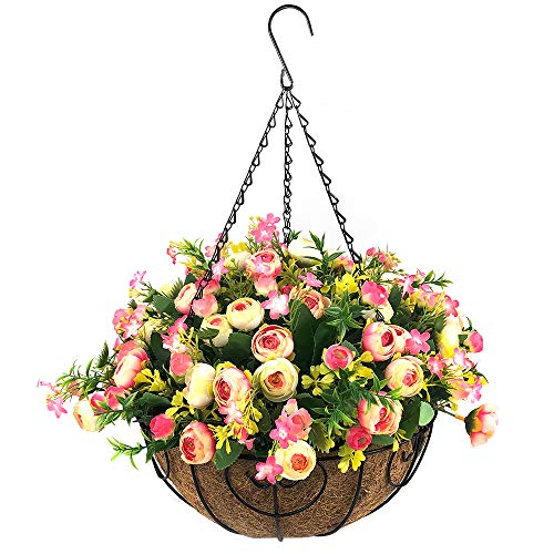 Fall Artificial Hanging Flowers with Basket,Fake Silk Rose Flowers in 12 inch Coconut Lining Hanging Baskets for The Decoration of Courtyard, Outdoors, and Indoors (Rose red,White)