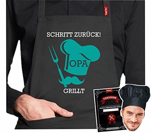 #GRILL: Original HARIZ® Collection Grillschürze Premium // 24 Designs wählbar // Schwarz // Schürze mit Urkunde & Kochmütze // Geschenk #GRILL13: Schritt zurück ! Opa grillt !