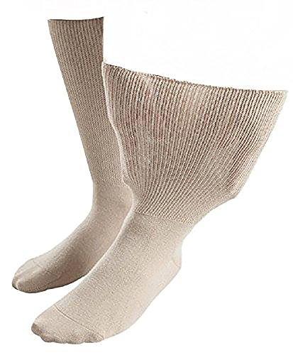 IOMI Sock Shop Footnurse - Herren und Damen socken extra weit b& ödeme beine behandlung ges&heitssocken in 4 Größen und 5 Farbig (37-40 eur, Beige)