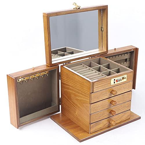 Futchoy Joyero grande de madera, 5 niveles, 27,5 x 19,1 x 22,9 cm, maletín cosmético con cerradura espejo y tallado, color madera de cerezo