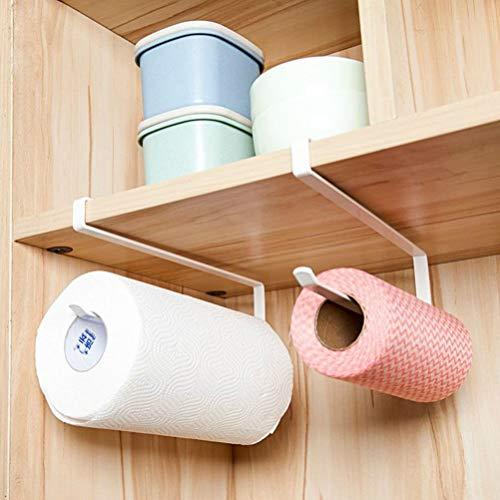 Lsmaa papieren handdoek houder dispenser onder kabinet papier Roll Hoder Rack zonder boren voor keuken badkamer, wit (pakket hoeveelheid 1 handdoekhouder)