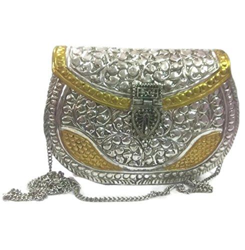 Bolso étnico indio de la honda del embrague del partido de las mujeres Monedero de metal de latón hecho a mano blanco de la vendimia Embrague de mano antiguo