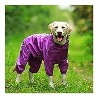 Z-Y 犬レインコート ペット犬のレインコート反射防水ジッパー服ハイネックのフード付きジャンプスーツのために小大犬オーバーオールレインマントラブラドール #z (Color : Purple, Size : 16)