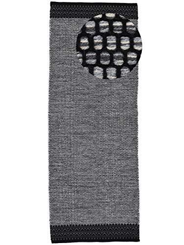 CarpetFine Tappeto a Tessitura Kilim Mia passatoia Grigio 60x180 cm | Tappeto Moderno per Soggiorno e Camera da Letto
