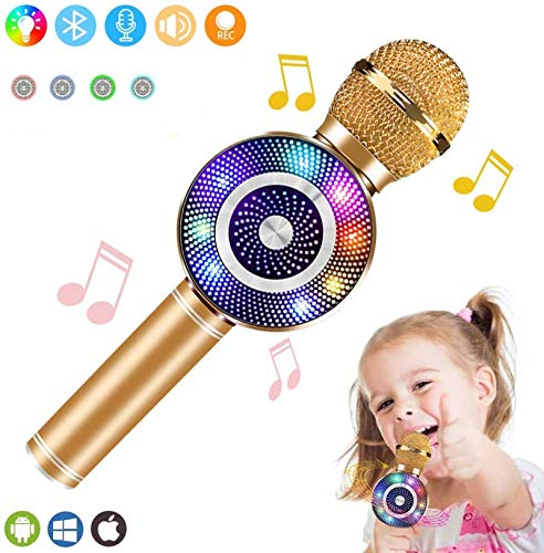 IKUKUER Wireless Karaoke Microphone Handheld Bluetooth Microphone with Speaker and Light Echo Mic Portable Karaoke Player for Kid Adult Girl Home Party Singing Gift, Compatible iPhone Android