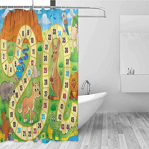 Waterdicht Badkuip Gordijn Bordspel Australië Leuke Wildlife Eenvoudig te Onderhouden, Douche Gordijn Voor Badkamer, W122 X H183 CM/48X72 Inch