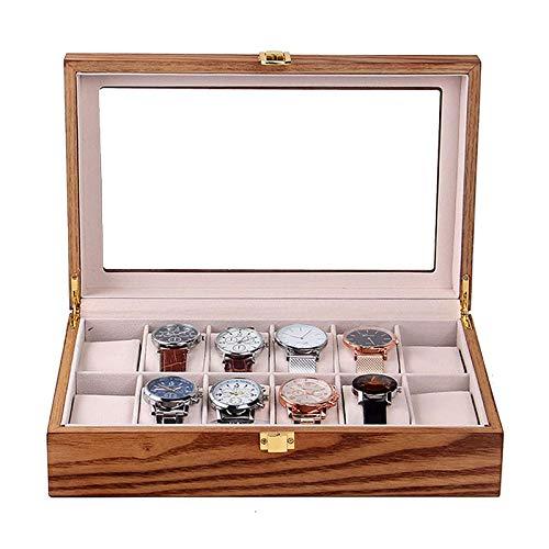 KDMB Caja de Reloj Caja de Reloj de Madera con 12 Ranuras para Hombres y Mujeres Vitrina de Reloj Vintage con Hebilla de Metal con Tapa de Vidrio