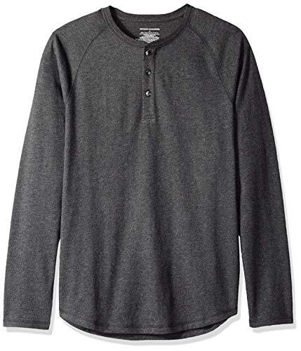 Amazon Essentials - Camiseta ajustada Henley de manga larga para hombre, Gris (Charcoal Heather), US L (EU L)