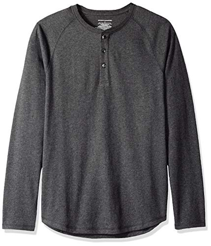 Amazon Essentials, maglietta a maniche lunghe da uomo, slim fit, con collo Henley, Grigio (Charcoal Heather), US L (EU L)