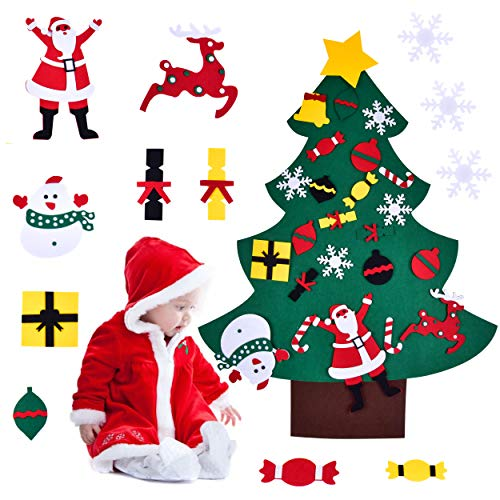 Elinker Felt Christmas Tree for Toddlers, 3.5ft Christmas Tree Ornament Kits for Kids Xmas Gifts New Year Wall Door Christmas Decoration