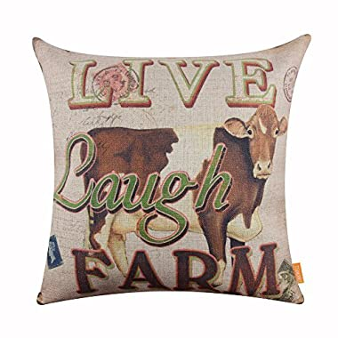 LINKWELL 18x18 inches Retro Farm Live Laugh Farm Cow Old Look Burlap Throw Cushion Cover CC1168