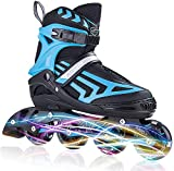 ITurnGlow Kids Adjustable Inline Skates for Boys and Adults with Full Light Up LED Wheels, Outdoor Blades Roller Skates for Girls,Woman, Men and Women Blue Size XL