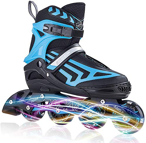 ITurnGlow Boys Adjustable Inline Skates for Kids and Adults with Full Light Up LED Wheels, Outdoor Blades Roller Skates for Girls,Woman, Men and Women Blue Size XL