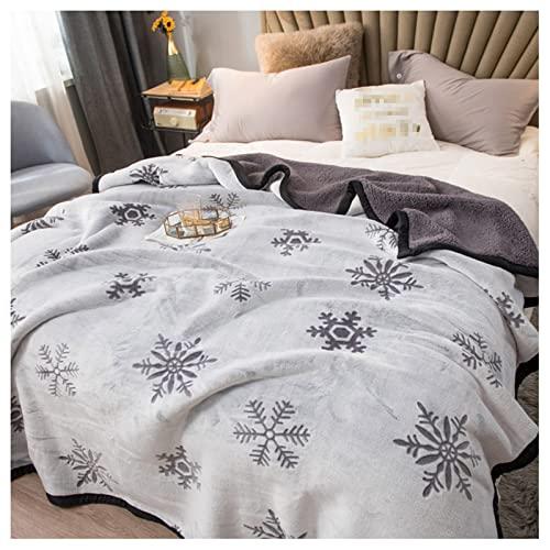 Coperte a doppia faccia con flanella in lana di agnello, aria condizionata coperta per letto coperta per pisolino da corallo coperta di agnello coperta di lana trapunta addensata,Grigio,100x120cm