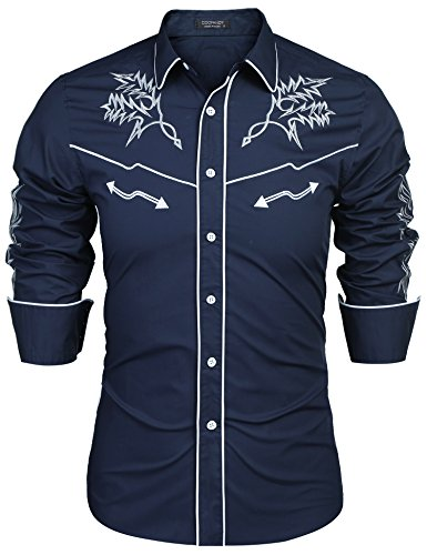 COOFANDY Men's Casual Slim Fit Embroidered Shirt Fashion Long Sleeve Button Down Western Shirts,Blue,XX-Large