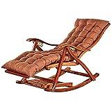 WLALLSS Mecedora balcón, Tumbona bambú Plegable, Tumbona jardín con Respaldo Ajustable, reposapiés extendidos, sillón Madera con Cojines (Color: marrón)