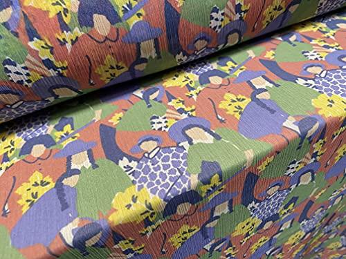 Tela ligera de gasa Yoryu tejida, por metro, estampado de flores, color rosa, verde y azul