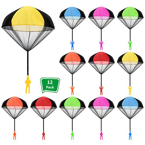 12 Pieces Parachute Toy Parachute Hand Throw Toy Set Tangle Free Throwing Parachute Figures Hand Throw Soldiers Outdoor Flying Toys