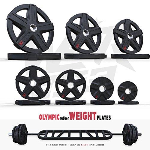 We R Sports Rexflex Olimpico di Gomma Incassato Peso Piastre Disco Ez Manubrio Pesi Fitness Palestra Commerciale Piastre Set di 2 (Coppia) (2 X 20kg)