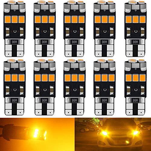 DEFVNSY Lot de 10 - T10 194168 2825 W5W Super Bright Ambre/Jaune Non Polarité Canbus Sans Erreur 2835 9SMD Ampoules LED Pour Feux De Position Latéraux Carte Intérieure Ampoule Dôme