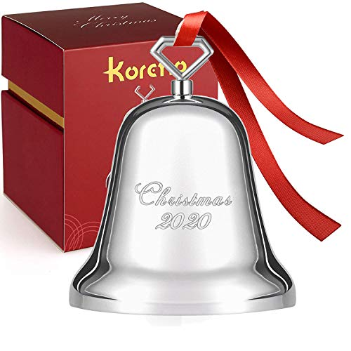 Koreno 2020 Annual Christmas Bell, Silver Bell Ornaments Nickel-Plated for Christmas Tree Decorations, Holiday Bell Jingle Bell for Anniversary with Ribbon & Gift Box (2.8in2.8in3.5in)
