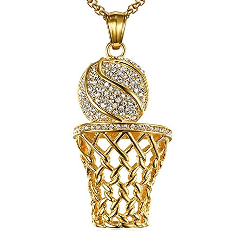 NA Halskette Hip Hop Basketball Netze Halsketten Anhänger Für Männer Frauen Edelstahlkette Sportschmuck Goldcolor