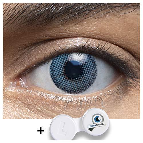 Sehr stark deckende und natürliche blaue Kontaktlinsen farbig MUSCAT BLUE + Behälter von LENSART - 1 Paar (2 Stück) - DIA 14.00 - ohne Stärke 0.00 Dioptrien