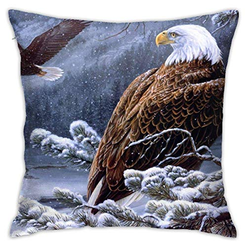 Mesllings Square Throw Pillow Cover, EagleBald Eagle Stand Snow Branch Decorative Pillow Case for Sofa 16 X 16 Inches
