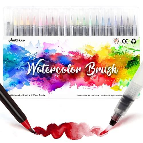 Amteker Brush Pen Lettering 24 Acquerelli Penne + 1 Pennello Acqua - Punta Flessibile Morbida a Pennello, Pennarelli Acquerellabili, Penna Stilografica per Lettering, Calligrafia, Disegno a Colori